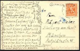 (1595) AK (Berge, Tannen) Gest. MÜNCHEN 47 Am 21.12.1945, EF 8 Pf AM-Post - Bizone
