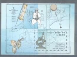 EXPEDITION SCIENTIFIQUE EN ANTARCTIQUE PESQUISAS CIENTIFICAS NA ANTARTICA BRASIL HOJA BLOC NR. 71 YVERT MNH - Blocks & Sheetlets