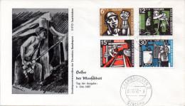 "Saarland Schmuck-FDC 1957 Mi. 404/07 ""Wohlfahrt: Kohlebergbau""  ESt. 1.10.57 SAARBRÜCKEN 2 - FDC"