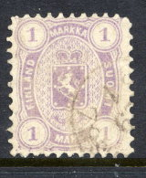 FINLAND 1875  1 Mk. Pale Mauve, Perforated  11 Used. Michel 19Ay - 1856-1917 Russische Verwaltung