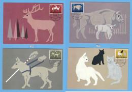 NETHERLANDS, SET OF 4 MC, FARM ANIMALS, DIEREN 21. APR. 1964, CATS, DOGS, DEER, ANIMALS , See Scans - Farm