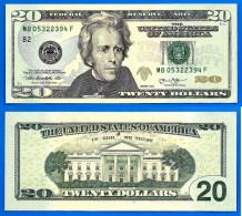 USA 20 Dollars 2013 Neuf UNC Mint New York B2 Suffixe F Etats Unis United States Dollars US Paypal Skrill Bitcoin OK - Large Size - Taglia Grande (...-1928)