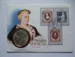AUSTRIA 1988 MARIA THERESIA GEBURTSTAG MUNZE COIN COVER - 1981-90 Cartas