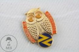 Vintage Spanish Railway Railroad Logo And The Security Owl  - Pin Badge - Marcas Registradas