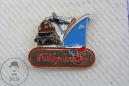 Blue Ship, Plain & Train Filipinos Advertising - Pin Badge - Transportes