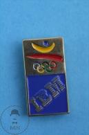 Barcelona 1992 Olympic Games Golden IBM Advertising Pin Badge - Juegos Olímpicos