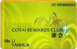 Carte Membre Casino : Cotai Rewards Club Macau (2 établissements) - Casino Cards