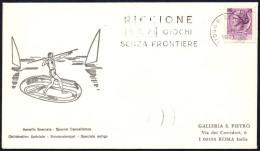 ITALIA RICCIONE (FO) 1971 - GIOCHI SENZA FRONTIERE - TARGHETTA - BUSTA VIAGGIATA - BOLLO ARRIVO ROMA RISPARMIO POSTALE - Giochi