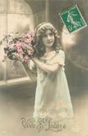 Belle  Carte     - Enfants  ,bouquet  , Vive Ste Louise             Ah2013 - Scene & Paesaggi
