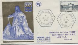 Versailles(Yvert N° 988) Enveloppe1er Jour. Oblitération Hexagonale - 1950-1959