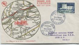 Villandry 1954 (Yvert N° 995)  Enveloppe1er Jour. - FDC