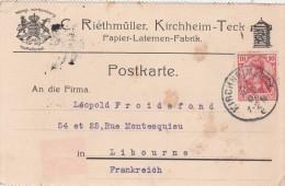 Allemagne Postkarte Entête Riethmüller KIRCHHEIM 21/4/1908 Pour Libourne France - Germany
