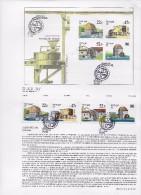 2 SCANS- TIMBRES -STAMPS - MARCOPHILIE - PORTUGAL -1986- MOULINA À EAU - SERIE AVEC OBLITERATION 1er. JOUR - LISBONNE - Oblitérés