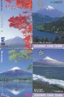 LOT De 4 Cartes Prépayées Japon - Volcan MONT FUJI - Mountain Vulcan Japan Prepaid Cards - Berg Karten - 260 - Volcanes