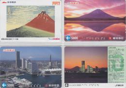 LOT De 4 Cartes Prépayées Japon - Volcan MONT FUJI - Mountain Vulcan Japan Prepaid Cards - Berg Karten - 261 - Vulcani