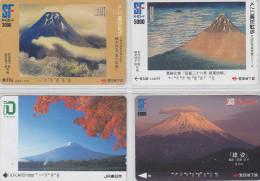 LOT De 4 Cartes Prépayées Japon - Volcan MONT FUJI - Mountain Vulcan Japan Prepaid Cards - Berg Karten - 263 - Volcanos