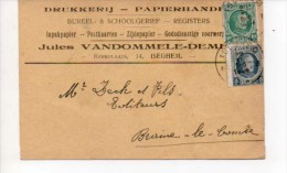 Izegem  Carte Pub  Jules Vandommele  Drukkerij Papierhand Registers En 1924 - Izegem