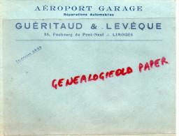 87 - LIMOGES - AEROPORT GARAGE- R. GUERITAUD-58 FG PONT NEUF- AUTO  AUTOMOBILE- ENVELOPPE COMMERCIALE - Non Classificati