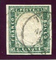 1857-SARDEGNA- 5 C.VERDE MIRTO SCURO -LUXE ! - Sardaigne