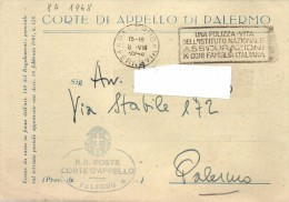 1948 Cartoncino In Franchigia - Notare Annullo A Targhetta -    08 - 100 - 499 Cartoline