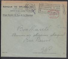 """BELGIQUE - 1925 -  """"´ BANQUE DE BRUXELLES """" OBLITERATION E.M.A. SUR ENVELOPPE EN VILLE - - Freistempel"""