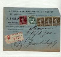ST SAINT JEAN D ANGELY - 1920 - RECOMMANDEE R N° 543 - PERRIN FOURRURES - SEMEUSE 3 X 40C + 15C BLANC 5C SUR ENVELOPPE - Marcophilie (Lettres)