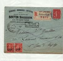 ST SAINT JEAN D ANGELY - 1927 - RECOMMANDEE R N° 270 - BOUTIN EPICERIE - SEMEUSE 2 X 50C SUR 80 + 50C SUR ENVELOPPE - Marcophilie (Lettres)