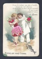 CPA 1 Er AVRIL Gaufrée ( Fille Et Pierrot ) - 1er Avril - Poisson D'avril