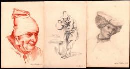 Lot De 3 DESSINS -  2 Crayon, 1 SANGUINE Datés Mais Non Signés - 1912 - 1913 - Dessins