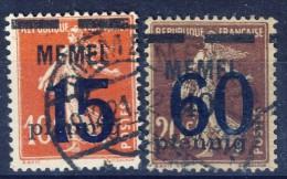#K2473. French Memel Issue 1921. Michel 34-35. Used. - Memel (1920-1924)