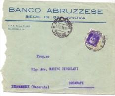 SS - BANCO ABRUZZESE - GIULIANOVA - 13X17 - LS - ANNO 1931 - TEMA TOPIC COMUNI D´ITALIA - STORIA POSTALE - Affrancature Meccaniche Rosse (EMA)