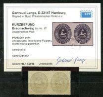 3787 - BRAUNSCHWEIG - Waagerechtes Paar Der Mi.Nr. 17 **/* Mit Kurzbefund Lange - Braunschweig