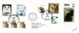 Belle Lettre D´ALASKA (faune: Ours Polaire,Chouette Harfang Des Neiges,Aigle Royal,lynx,etc) Adressée En ANDORRE - Polar Philately