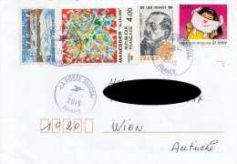 Frankreich Brief Mit Schöner 4 Fach Misch-Frankierung 2015 Gel. Frankreich > Wien (Adresse Abgedeckt) - France