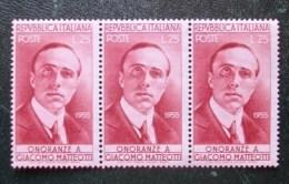 """Q073 - Italia Repubblica - 1955 """" Giacomo Matteotti  """" Tre Valori Nuovi MNH Gomma Integra - 1946-60: Nuovi"""