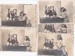 Série De 9 CPA   Fillette Et Sa Grand-mère  Photo CLAYETTE    Précurseur - Children And Family Groups