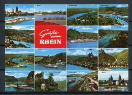 """Grüße Vom Rhein/ Mehrbildkarte/ Schiffs-Stempel """"Auf Dem Rhein An Bord Groß-Motorschiff Berlin"""" - N. Gel. - Qual.k. S+S - Gruss Aus.../ Grüsse Aus..."""