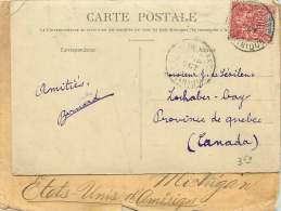 Carte Postale Pour Le Canada  Groupe 10 Cent Rouge Sur Paille  Yv 45 - Martinique (1886-1947)