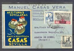 1937 , GUERRA CIVIL , SEVILLA , TARJETA POSTAL COMERCIAL CIRCULADA , LOCALES. - 1931-Hoy: 2ª República - ... Juan Carlos I