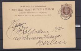 GREAT BRITAIN 1887, CARTE POSTALE, POST CARD, LONDON 5. DEC. 1887, TO BERLIN, GERMANY, ONE PENNY See Scans - Interi Postali
