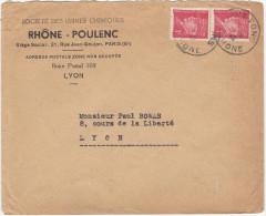 FRANCE LETTRE DE RHONE-POULENC DE 1942  (scan Recto Verso) - France