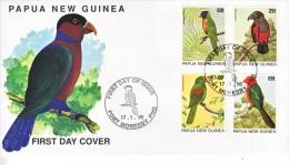 PAPUA  NEW  GUINEA   889-92  FDC  COVER   PARROTS - Papageien