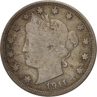 États-Unis, Liberty Nickel, 5 Cents, 1911, U.S. Mint, Philadelphia, TB, Copp... - Federal Issues