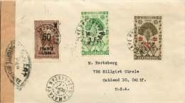 Lettre Censurée Pour Les USA 1945?   3 Timbres Surchargés   Yv 258, 303, 295 - Madagascar (1889-1960)