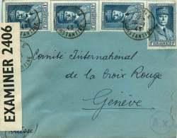 1943  Lettre Pour La Croix Rouge  Double Censure:  Anglaise Et Allemande  Yv 168 X4 - Algérie (1924-1962)