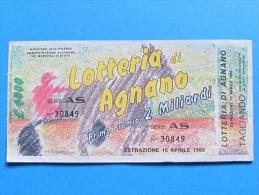 BIGLIETTO LOTTERIA DI AGNANO 1989 CON TAGLIANDO - Biglietti Della Lotteria