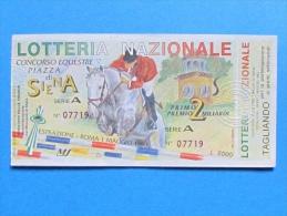 BIGLIETTO LOTTERIA DI SIENA 1993 CON TAGLIANDO - Biglietti Della Lotteria