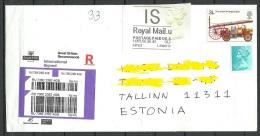 Great Britain 2016 Registered Cover To Estonia Elizabeth II Label Car Etc - 1952-.... (Elizabeth II)