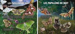 CENTRAL AFRICA 2015 ** Moths Motten M/S+S/S - OFFICIAL ISSUE - A1602 - Insekten