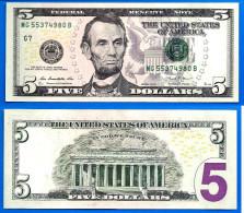 Usa 5 Dollars 2013 Neuf UNC Mint Chicago G7 Suffixe B Etats Unis United States Dollars US Skrill Paypal OK - Large Size - Taglia Grande (...-1928)